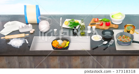Kitchen, table, with, ingredients, and, utensils 37318318
