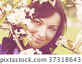 Beautiful woman under blooming tree 37318643