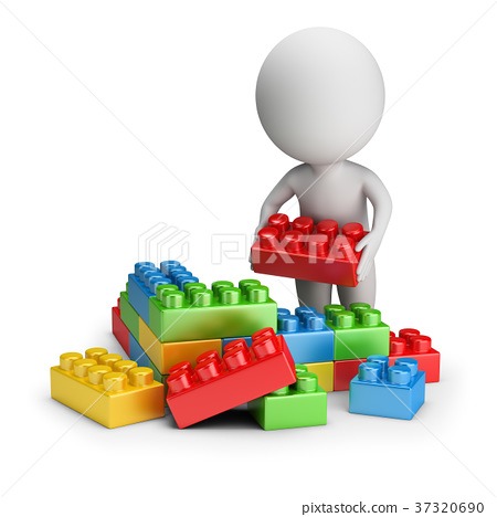 3d small people - toy blocks 37320690