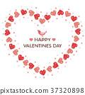 Valentine heart shaped wreath and little bird 37320898