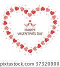 Valentine heart shaped wreath and love love little bird 37320900