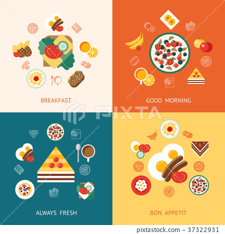 Digital vector breakfast meal fresh food and drink 37322931