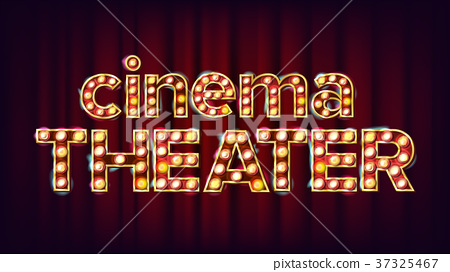 Cinema Theater Banner Vector. Cinema Glowing Lamps 37325467