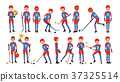 Modern Ice Hockey Player Vector. Different Poses 37325514