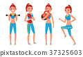 Fitness Girl Vector. Set. Modern Workout With 37325603