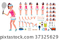 Tennis Player Female Vector. Animated Character 37325629