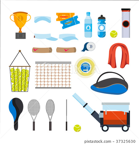 Tennis Icons Set Vector. Tennis Accessories 37325630
