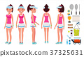 Girl Tennis Player Vector. Sport Uniform. Players 37325631