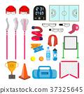 Lacrosse Icons Set Vector. Lacrosse Accessories 37325645
