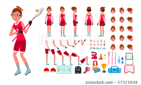 Lacrosse Player Female Vector. Animated Character 37325648