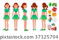 Cheerleaders Girls Set Vector. Different Poses 37325704