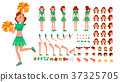 Cheerleader Girl Vector. Animated Character 37325705