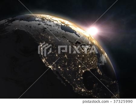 Wonderful sunrise over the Earth - North America 37325990
