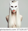 Sexy blonde in cat mask 37326107