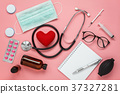 Flat lay aerial accessories healthcare & medical  37327281