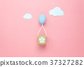 Top view decoration Happy Easter holiday  37327282