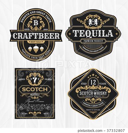 Classic vintage frame for whisky labels  37332807