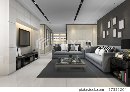 Blue Sofa In Modern Grey Living Room With Tv Stock Illustration 37333204 Pixta