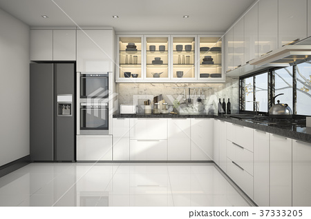 beautiful modern white kitchen with marble decor 37333205