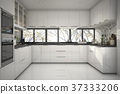 beautiful modern white kitchen with marble decor 37333206