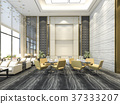 yellow chair in luxury hotel lounge and reception 37333207