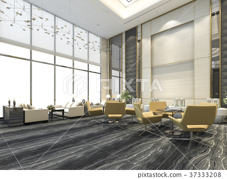 yellow chair in luxury hotel lounge and reception 37333208