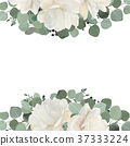 Floral card design: garden white peony Rose flower 37333224