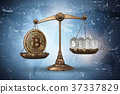 bitcoin, scales, 3d 37337829