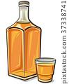 whiskey, bottle, glass 37338741