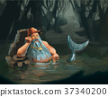 Old man mermaid character concept in water 37340200