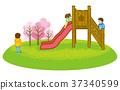 봄, 미끄럼틀, 아이 37340599