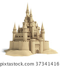 Fairytale sand castle isolated on white background 37341416