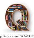 Letter Q. Alphabet in form of shelves with books 37341417