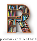 Letter R. Alphabet in form of shelves with books 37341418