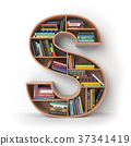 Letter S. Alphabet in form of shelves with books 37341419