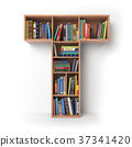 Letter T. Alphabet the form of shelves with books 37341420