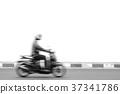 Motion blur bike rider on the street 37341786