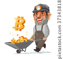 Miner and bitcoin mineral. 37343818