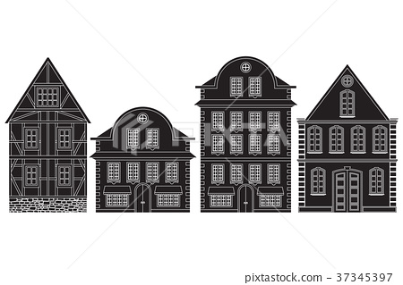 Old european town houses. Outline black drawing 37345397