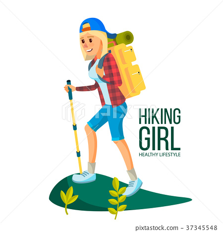 Hiking Woman Vector. Hiking In Mountains 37345548