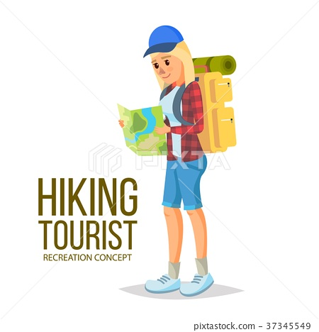 Hiking Girl Vector. Leading Healthy Lifestyle 37345549