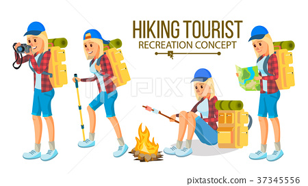 Hiking Woman Vector. Hiking In Mountains 37345556