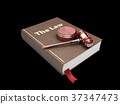 Judges wooden hammer and law book.  37347473