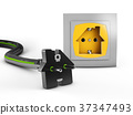 Electric white socket and black plug 37347493