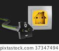 3d Illustration of Electric socket and plug 37347494
