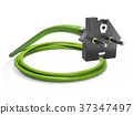 Electric green plug in the form of house. 37347497