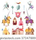 Medieval Royal Heraldry Cartoon Set 37347889