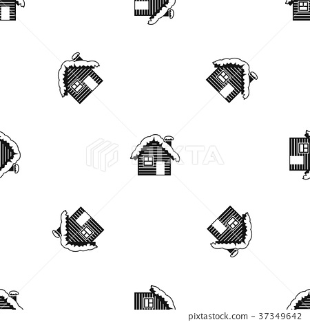 Wooden house covered with snow pattern seamless black 37349642