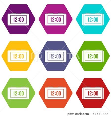 Watch icon set color hexahedron 37350222