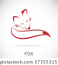 Vector of a red fox design on white background.  37355315